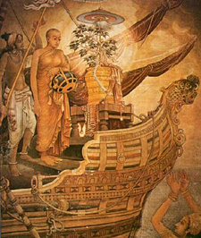The arrival of Ven. Sanghamitta in Sri Lanka, with the bodhi tree.