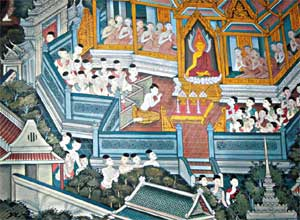 The four pillars of Buddhist society—bhikkhus (male monks), bhikkhunis (female monks), 'upasaka' (male lay devotees) and 'upasika' (female lay devotees)—are pictured on a mural in the Hall of the Reclining Buddha at Wat Pho. Photo © Alliance for Bhikkhunis.